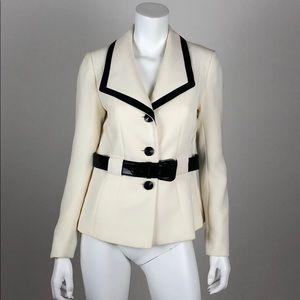 NWT Tahari Blazer Size 6 White Black Belted Career