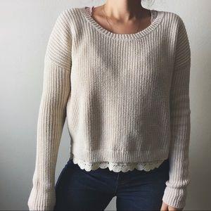 KIMCHI BLUE/ lace trim cropped knit