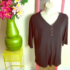 New black stretchy henley top Lands' End 18W