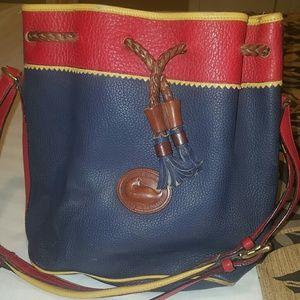 RARE DOONEY & BURKE BUCKET PURSE YELLOW RED BLUE