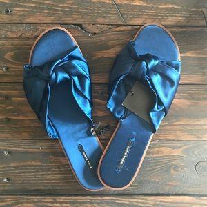 Zara satin bow slides sandals