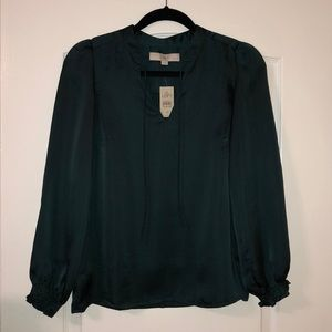Loft blouse, hunter green, NEW WITH TAGS