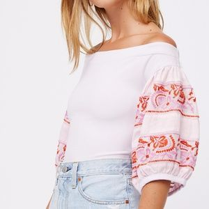 NEW Free People Rock With It embroidered top