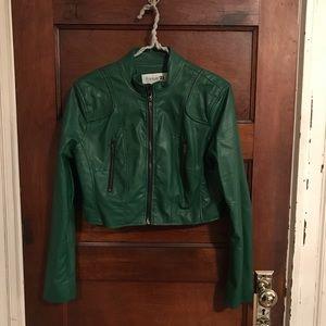 Kelly Green Faux Leather Jacket