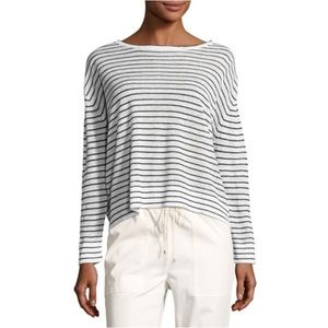 Theory Trinella Striped Linen Top