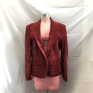 Vintage Winlit Suede Rust Peplum Leather Jacket