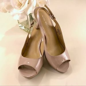 Nine West Slingback Peep Toe Pump Size 6M Taupe