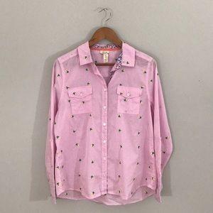 Matilda Jane pink gingham and yellow rosebud shirt