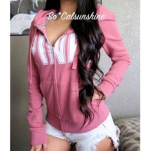 VS PINK Begonia full zip crew hoodie sweatshirt