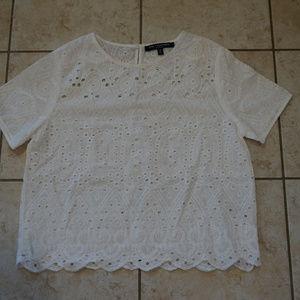 One clothing white eyelet short sleeve blouse S
