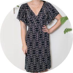 Black & White Geometric Pattern Wrap Dress