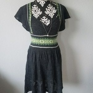 Free people vintage knit gray and green dress