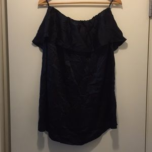 French connection silk black strapless dress