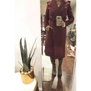 Hooded self-tie burgundy coat