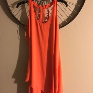 Bright orange short dress or flowing top