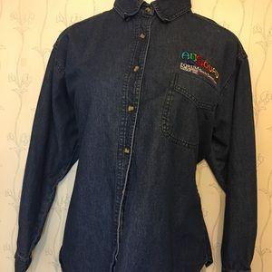 Women's Denim Blue Long Sleeve Shirt - Large