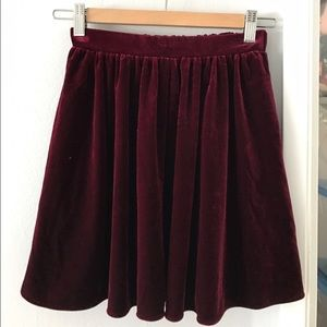 Velvet skater skirt in deep red