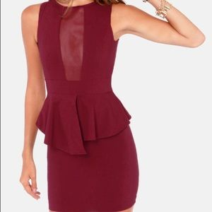 ASOS Maroon Peplum Dress