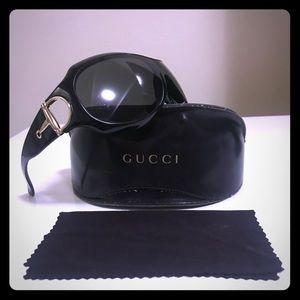 GUCCI Oversized Black & Gold Horsebit Sunglasses