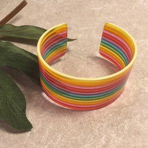 Colorful rainbow plastic cuff bracelet