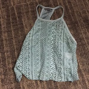 Lace/open knot tank top