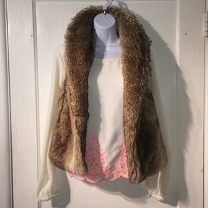 NWOT Fully Lined Faux Fur Vest Small Forever 21