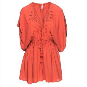 ASTR Rust Floral Crochet V Neck Romper Sz S