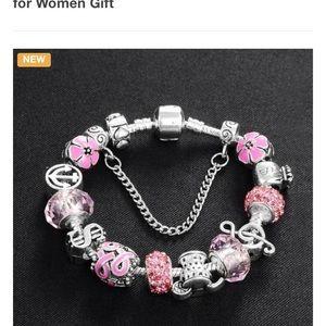 Charm Bracelet Silver -Tone Pink S/M