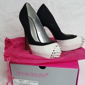 Black and white studded heels