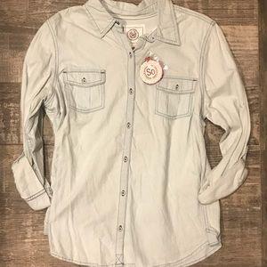 SO Button Down Stretch Jean Shirt