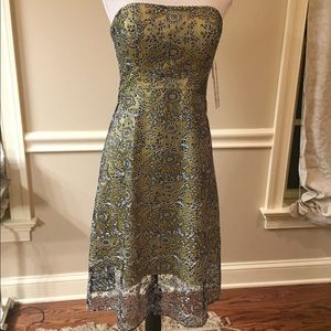 NWT Kay Unger Lace Overlay Strapless Dress