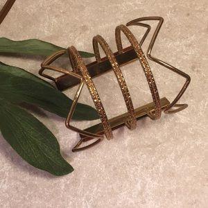 Gold tone cuff wire bracelet