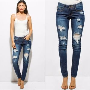 Denim - 💎🆕 Dark Washed Mid-Rise Distressed Skinny Jeans