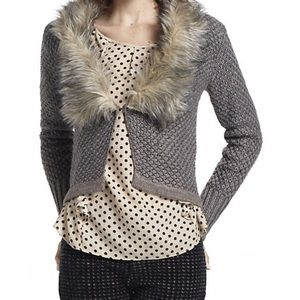 Anthropologie Faux Fur-lined Cardigan