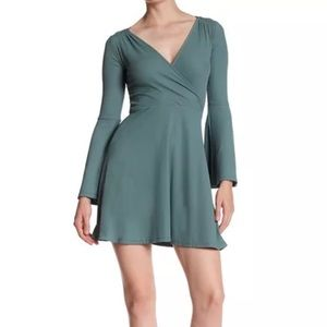 Topshop Green Ribbed Surplice Dress Bell Sleeve
