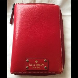 Kate Spade red leather zip planner agenda