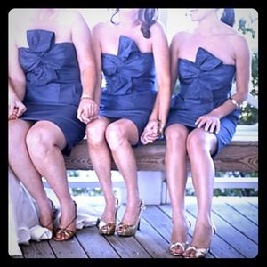 Navy Strapless Bow-Front Dress