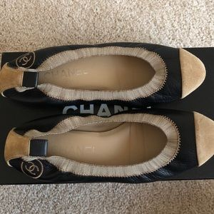 Chanel black leather & tan suede flats 7.5