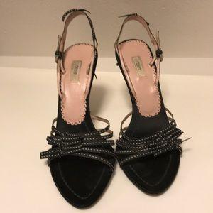 Prada black satin and grosgrain ribbon heels