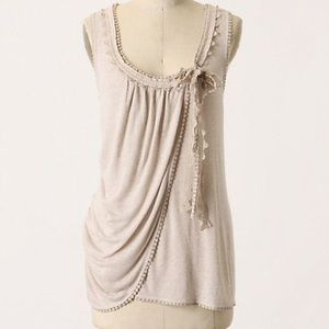 Anthro C Keer Valance Tank Lace Tan Linen Blend