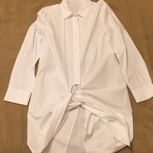 Womens white long button down shirt with knot