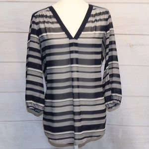 Large Loft Navy and White Striped Blouse