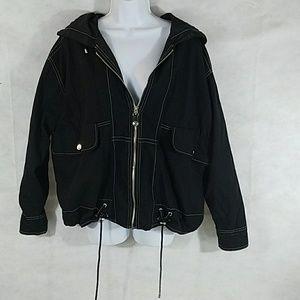 Lined cotton Semantics zipper jacket with hood