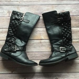 Justice Girls Size 4 Black Sequin Boots