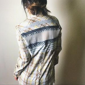 FREE PEOPLE Plaid Patchwork Distressed Button Up