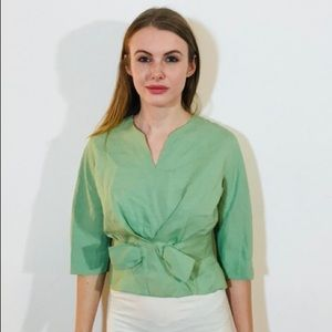 VINTAGE VOGUE PARIS STRUCTURED BOW LINEN GREEN#L46