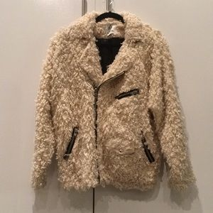 UNIF x Urban Outfitters Fuzzy Moto Coat Collab