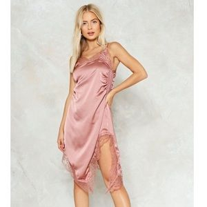 NastyGal Read My Slip Satin Dress