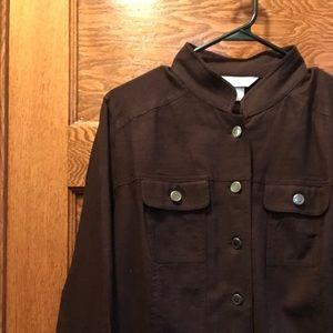 Women's brown linden button jacket