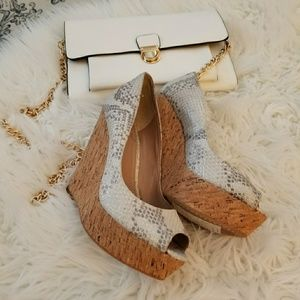 Vince Camuto Grey Snake Skin Wedge Shoes